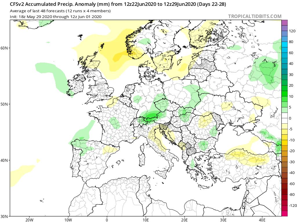 Modelos de Precipitación semanal Junio GFS 4ª Semana . Meteosojuela La Rioja.