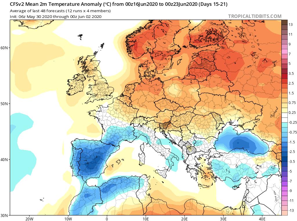 Modelos de Temperatura semanal Junio GFS 3ª Semana . Meteosojuela La Rioja.