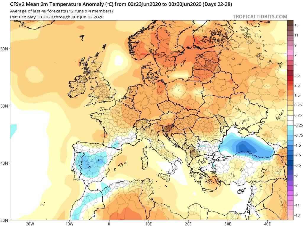 Modelos de Temperatura semanal Junio GFS 4ª Semana . Meteosojuela La Rioja.