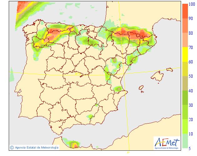 Probabilidad de precipitación según AEMET. 30 Meteosojuela La Rioja