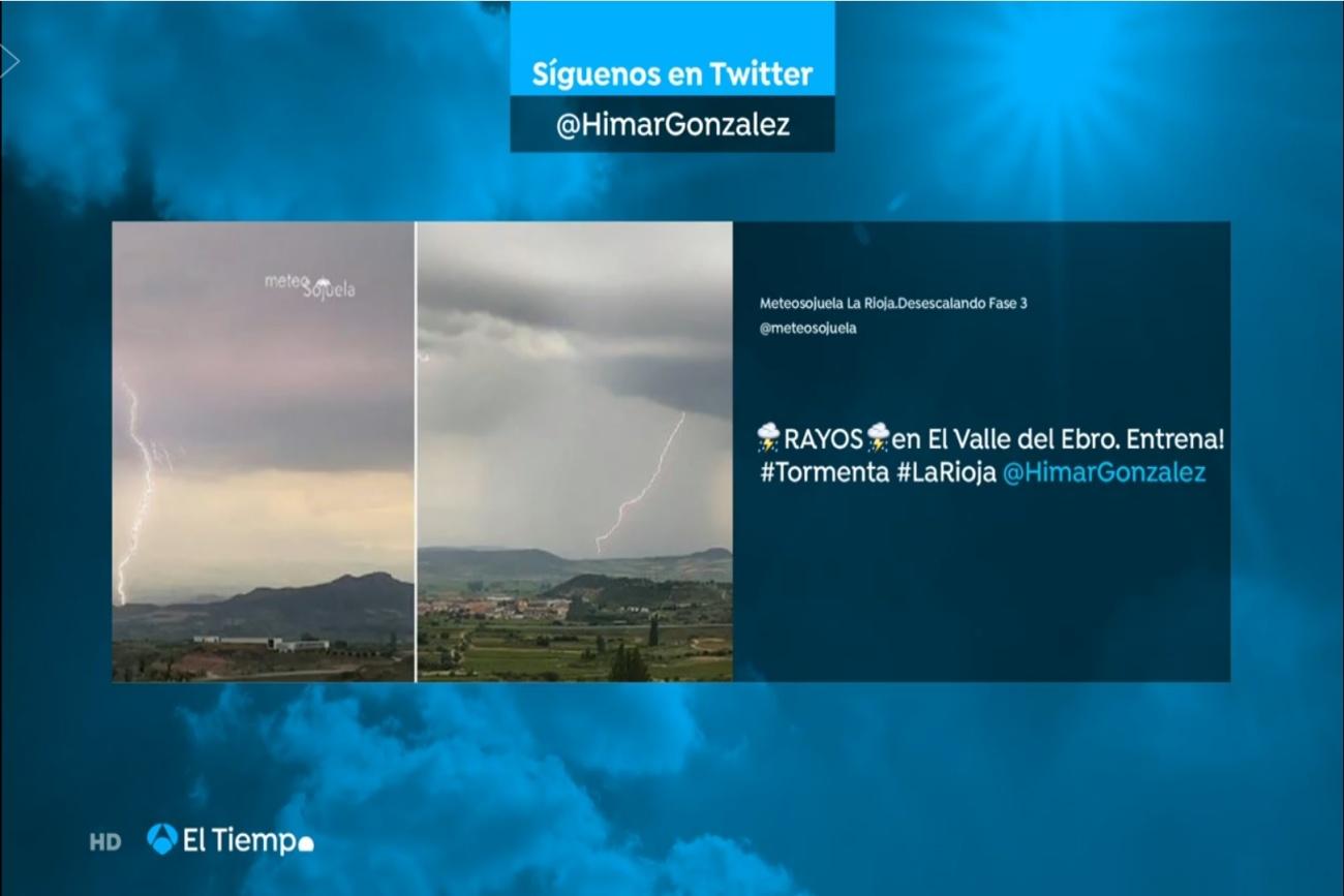 Rayos en Entrena. El Tiempo de A3. 0706 Meteosojuela