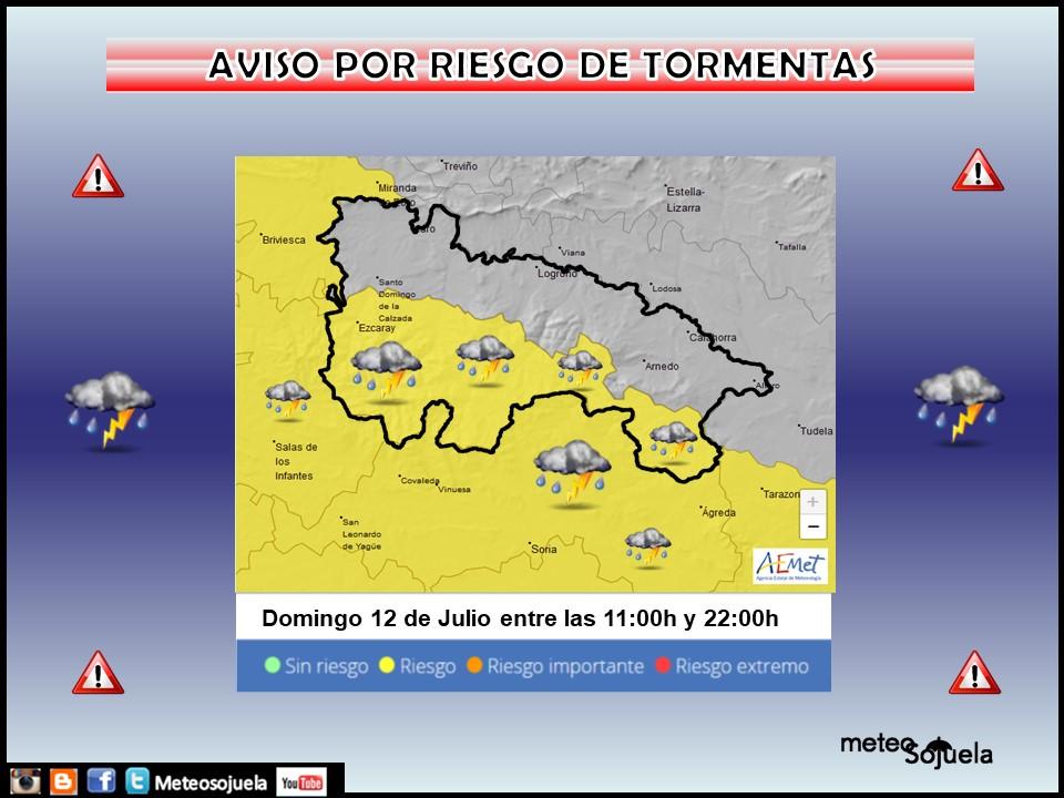 Aviso Amarillo Tormentas Ibérica. AEMET. Meteososojuela