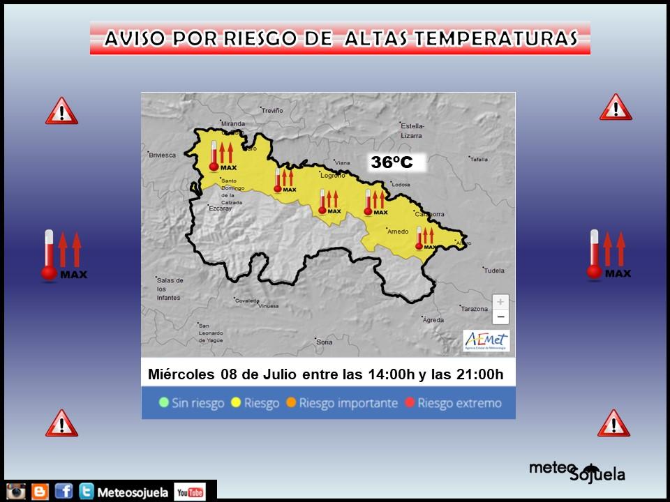 Aviso Amarillo por Altas Temperaturas Ribera. AEMET. Meteosojuela