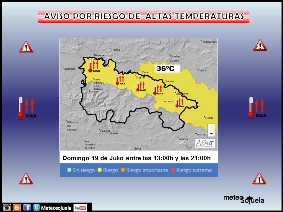 Aviso Amarillo por Altas Temperaturas en la Ribera. AEMET. Meteosojuela.