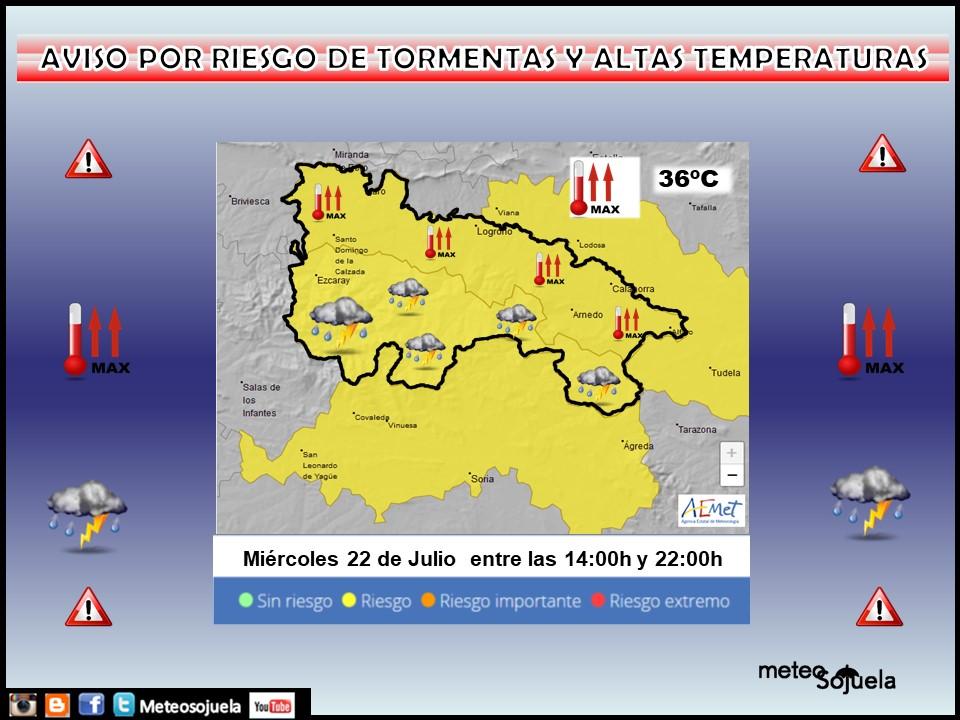 Aviso Amarillo por Altas temperaturas y Tormentas. 22 AEMET. Meteisijuel