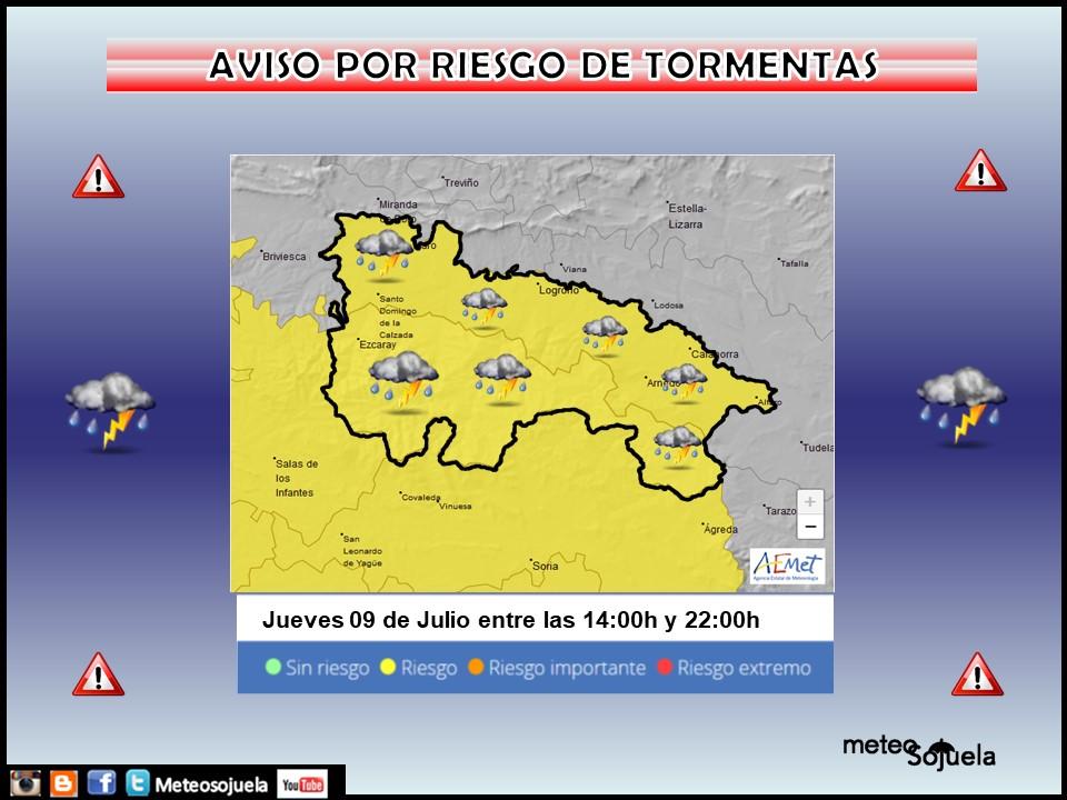 Aviso Amarillo por Tormentas AEMET. Meteosojuela