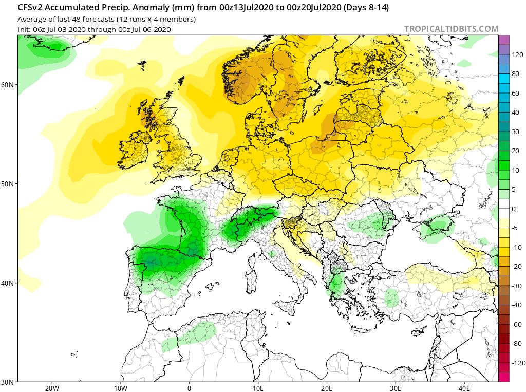 Modelos de Precipitación semanal Julio GFS 2ª Semana . Meteosojuela La Rioja.