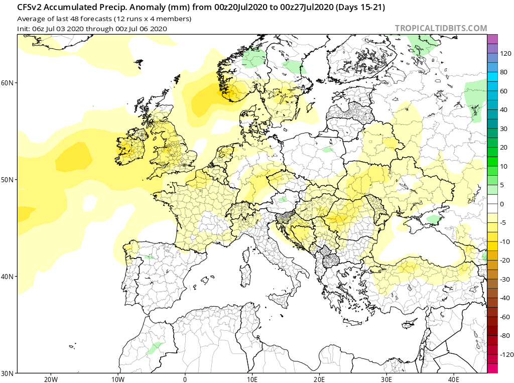 Modelos de Precipitación semanal Julio GFS 3ª Semana . Meteosojuela La Rioja.