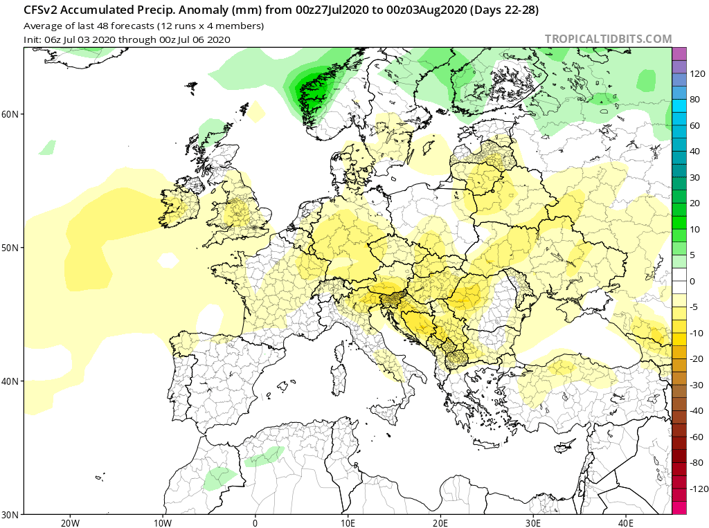 Modelos de Precipitación semanal Julio GFS 4ª Semana . Meteosojuela La Rioja.