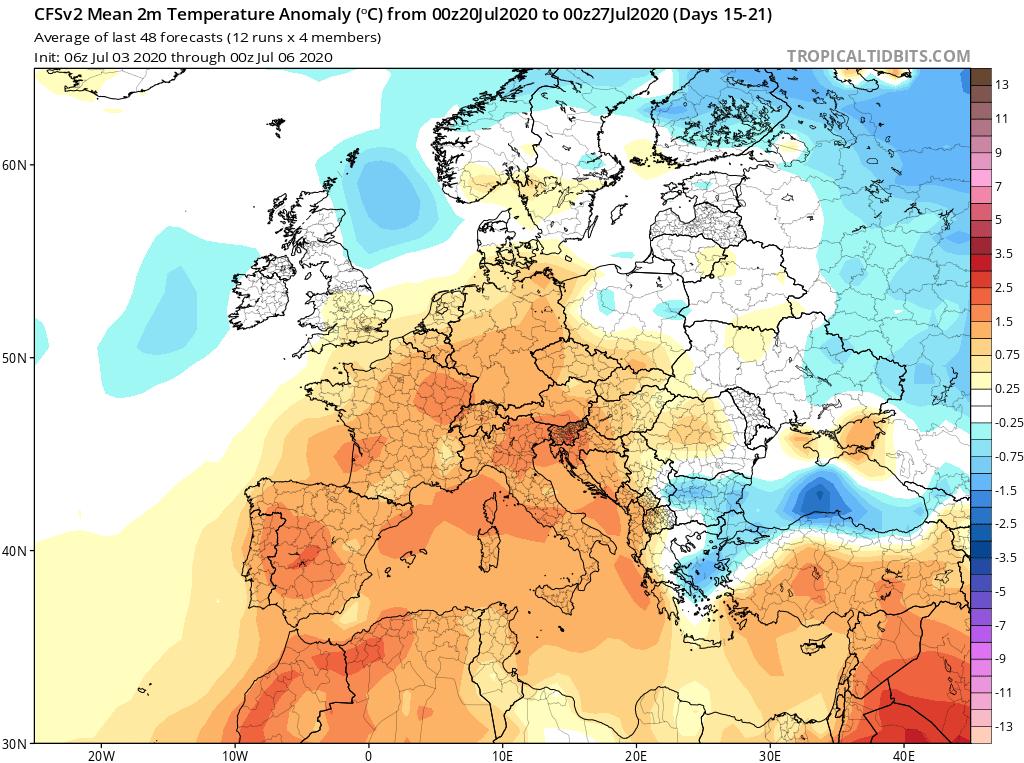 Modelos de Temperatura semanal Julio GFS 3ª Semana . Meteosojuela La Rioja.