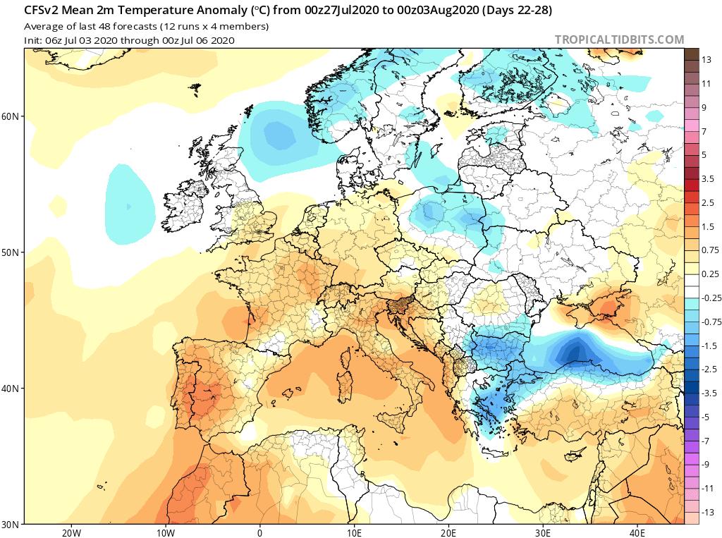 Modelos de Temperatura semanal Julio GFS 4ª Semana . Meteosojuela La Rioja.