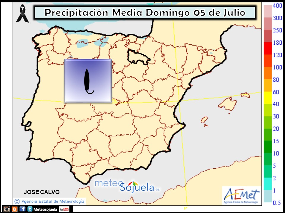 Precipitación Media según AEMET.