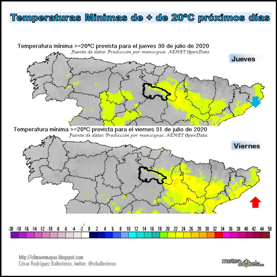 Temperaturas Mínimas previstas. AEMET. Meteosojuela
