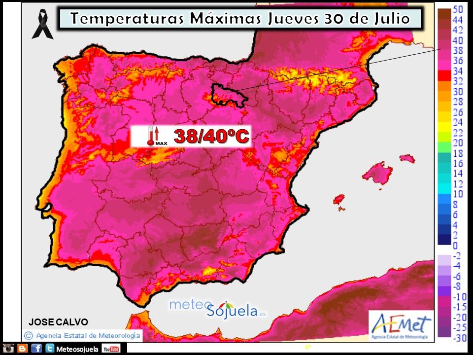 Temperaturas máximas previstas. AEMET. Meteosojuela