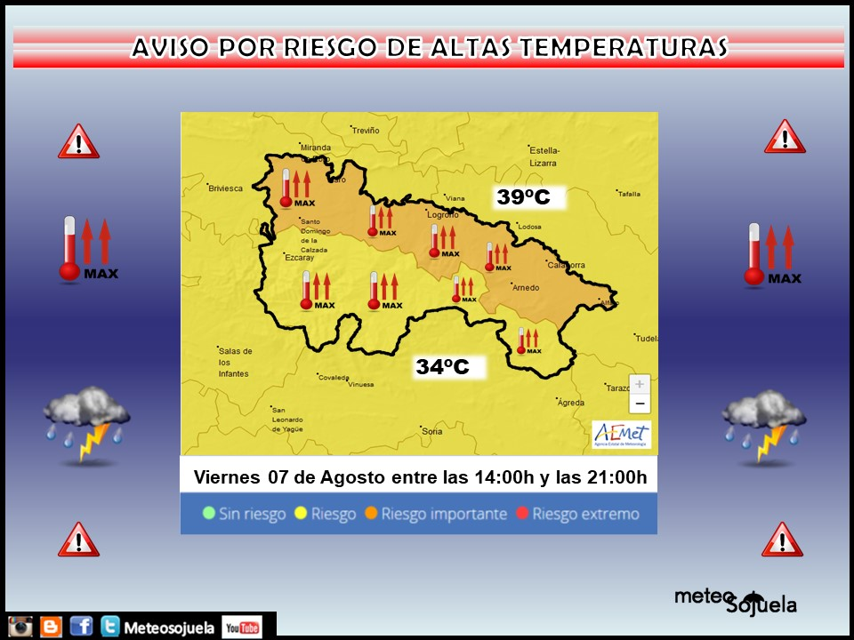 Aviso Amarillo por Altas Temperaturas. 07 AEMET. Meteosojuela.