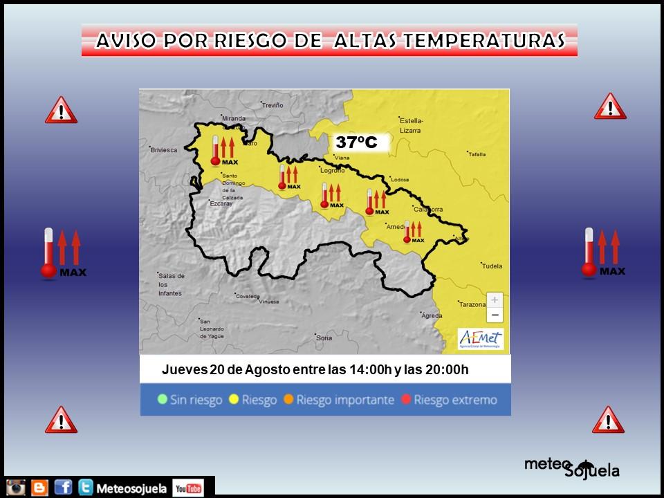 Aviso Amarillo por Altas Temperaturas. AEMET. Meteosojuela