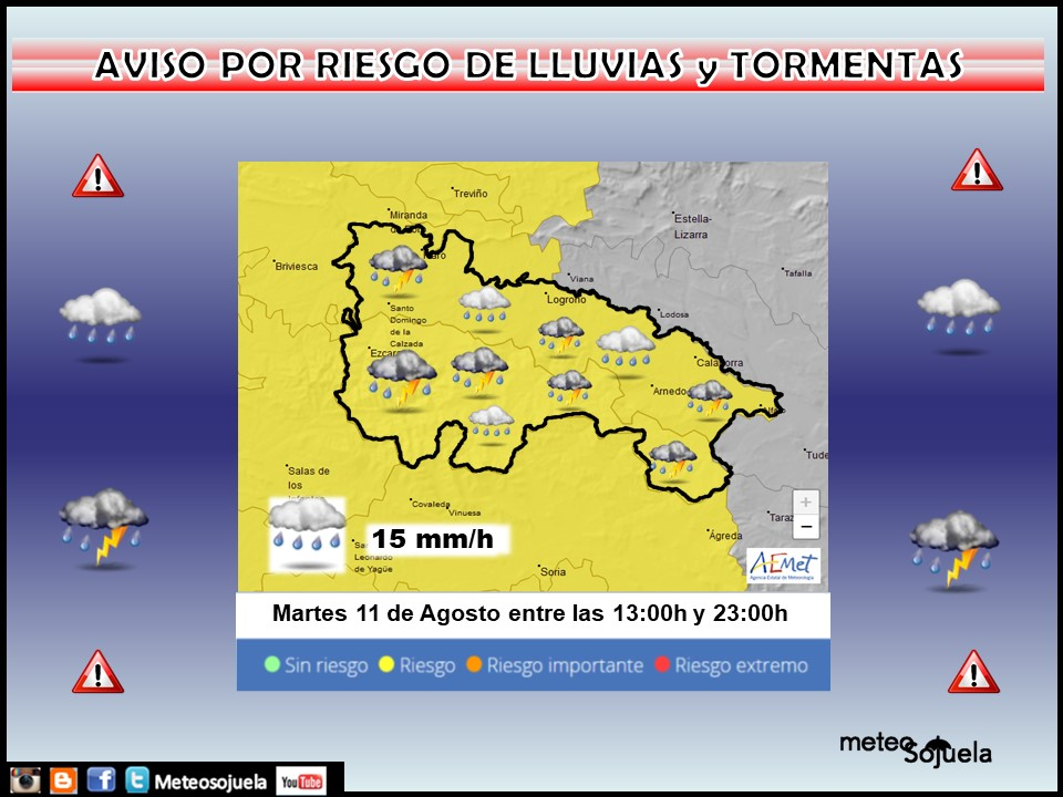 Aviso Amarillo por LLuvias y Tormentas. 11 AEMET. Meteosojuela.