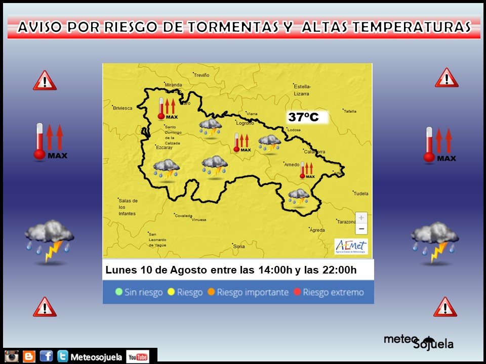 Aviso Amarillo por Tormentas y Altas Temperaturas. 10 AEMET. Meteosojuela.