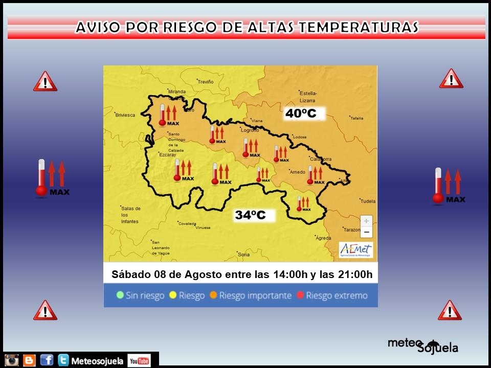 Aviso Naranaja y Amarillo por Altas Temperaturas. 08 AEMET. Meteosojuela.