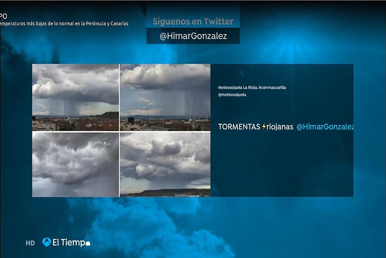 Chubascos desde Logroño. El tiempo de Antena 3. Meteosojuela