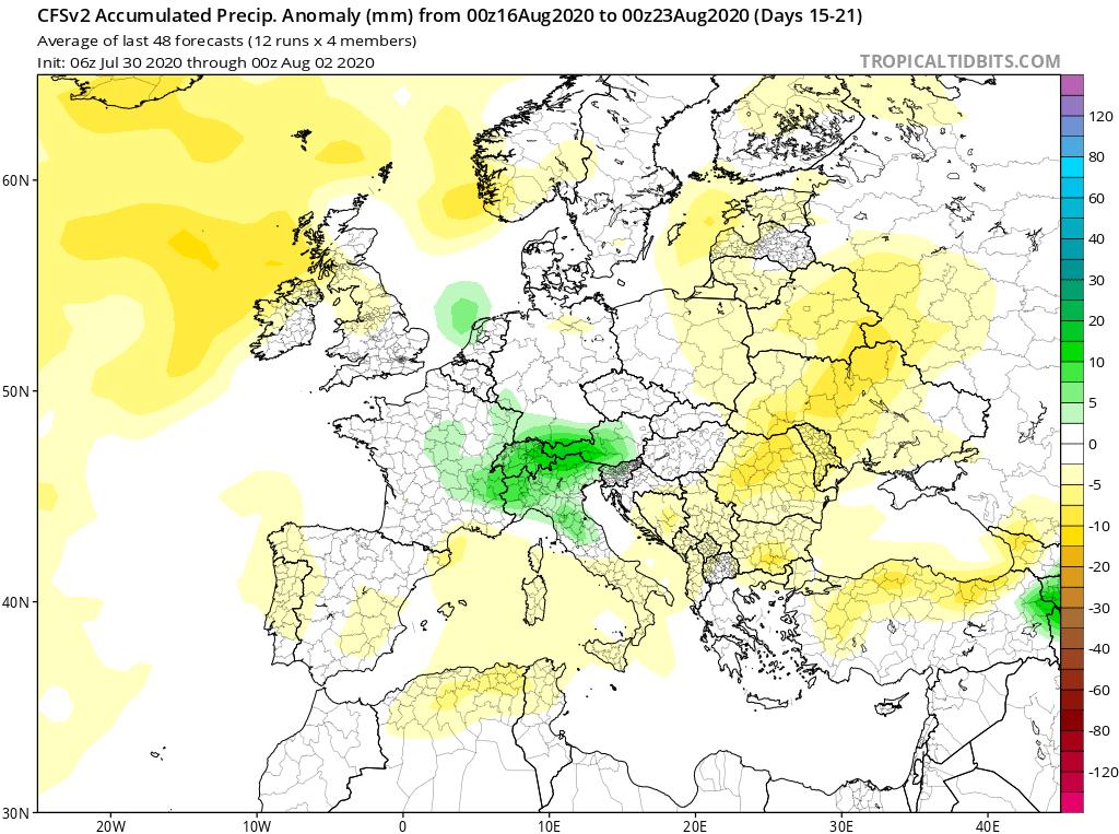 Modelos de Precipitación semanal Agosto GFS 3ª Semana . Meteosojuela La Rioja.
