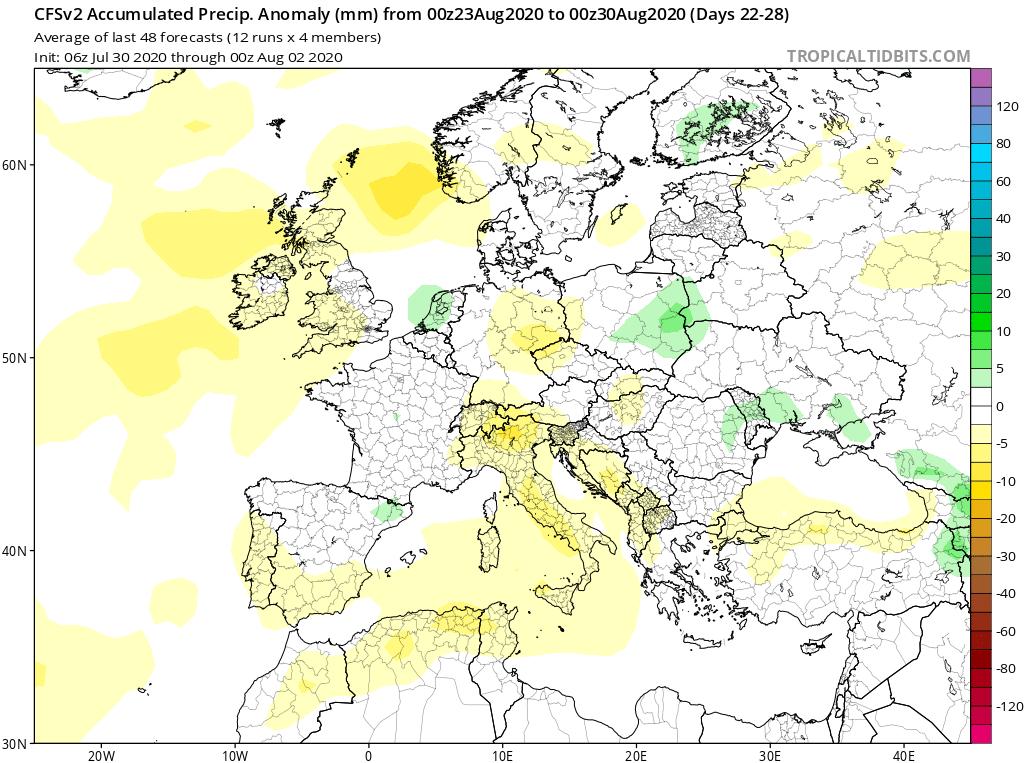 Modelos de Precipitación semanal Agosto GFS 4ª Semana . Meteosojuela La Rioja.