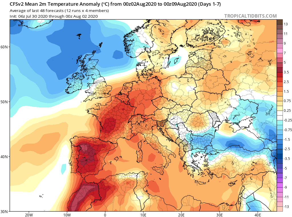 Modelos de Temperatura semanal Agosto GFS 1ª Semana . Meteosojuela La Rioja.