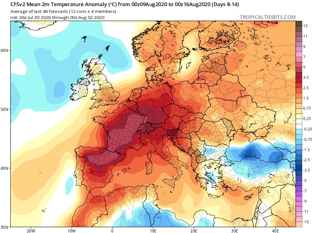 Modelos de Temperatura semanal Agosto GFS 2ª Semana . Meteosojuela La Rioja.
