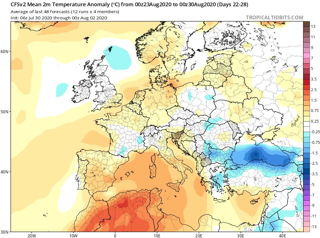 Modelos de Temperatura semanal Agosto GFS 4ª Semana . Meteosojuela La Rioja.