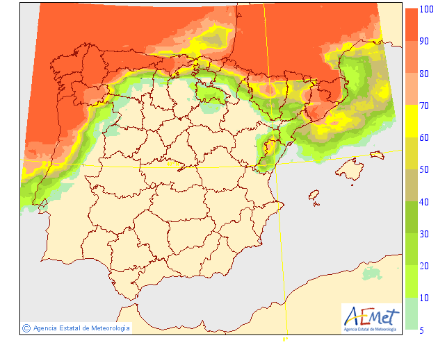 Probabilidad de precipitación según AEMET. 16 Meteosojuela La Rioja