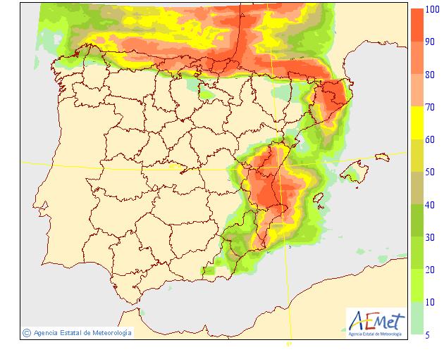 Probabilidad de precipitación según AEMET. 22 Meteosojuela La Rioja