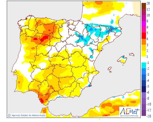 Variación de temperaturas máximas AEMET. 18 Meteosojuela