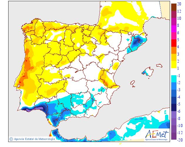 Variación de temperaturas máximas AEMET. 24 Meteosojuela
