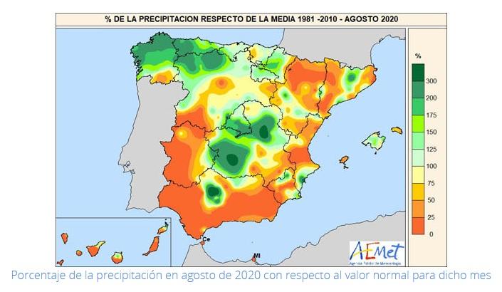 Anomalía Precipitación Agosto 2020 Península . AEMET. Meteosojuela