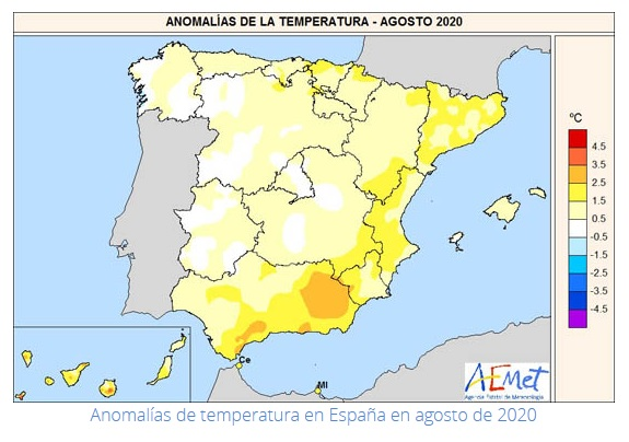 Anomalía Temperaturas Agosto 2020. AEMET. Meteosojuela