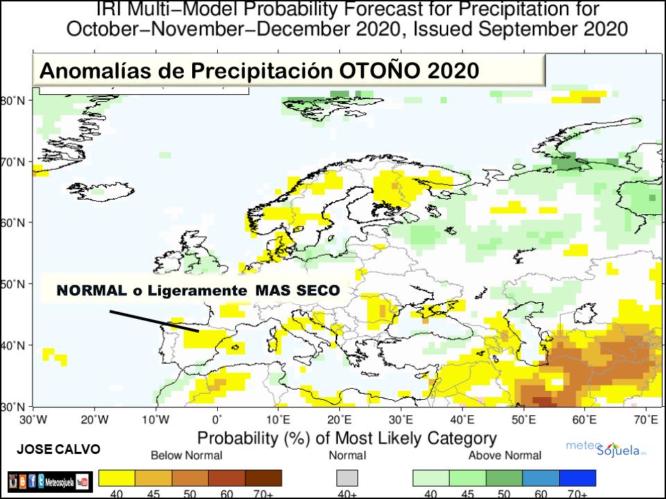 Anomalías Precipitación Otoño IRI 2020. La Rioja. Meteosojuela