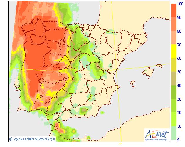 Probabilidad de precipitación según AEMET. 14 Meteosojuela La Rioja