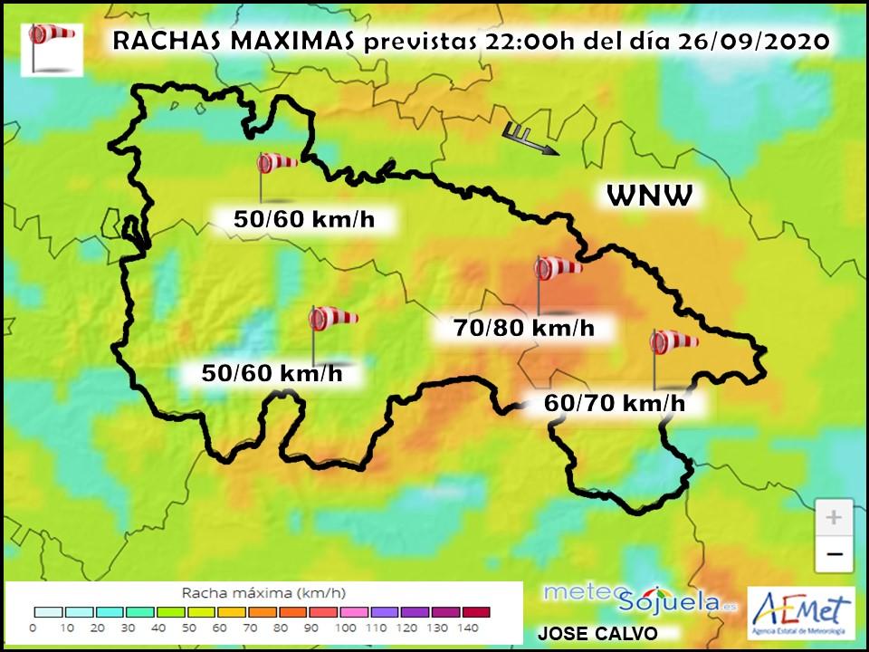 Rachas Máximas de Viento. Harmonie. Meteosojuela.es