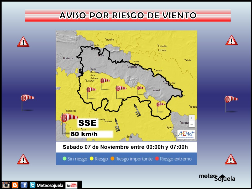 Aviso Amarillo por Viento Ibérica. AEMET. Meteosojuela