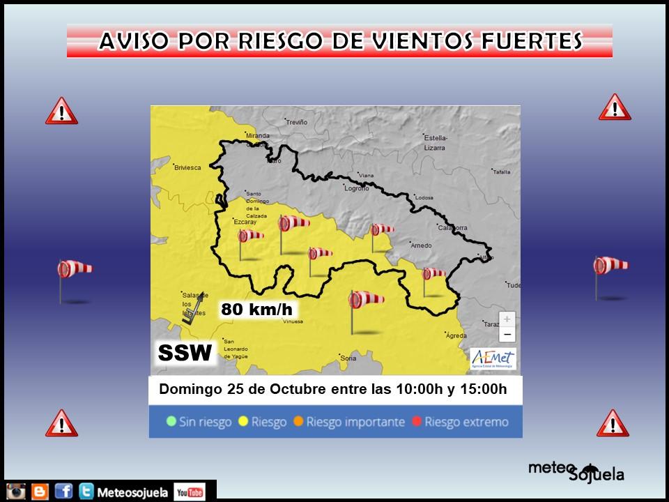 Aviso Amarillo por Viento en la Ibérica. AEMET. Meteosojuela