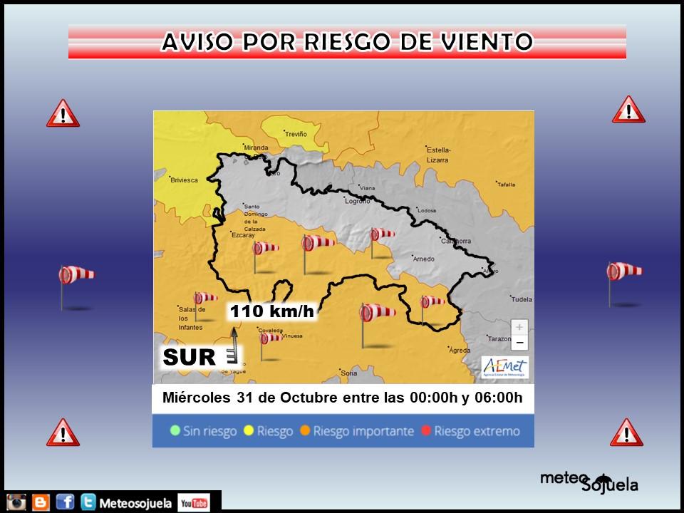 Aviso Naranja por Viento en la Ibérica. 21 AEMET. Meteosojuela