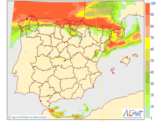 Probabilidad de Precipitación según AEMET. 09 Meteosojuela La Rioja