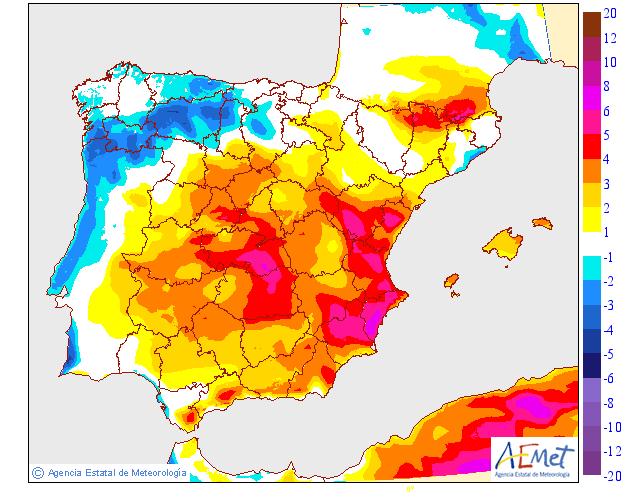 Variación de temperaturas máximas 13 AEMET. Meteosojuela