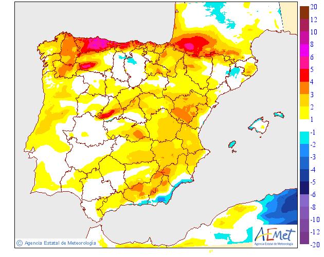 Variación de temperaturas máximas 27 AEMET. Meteosojuela