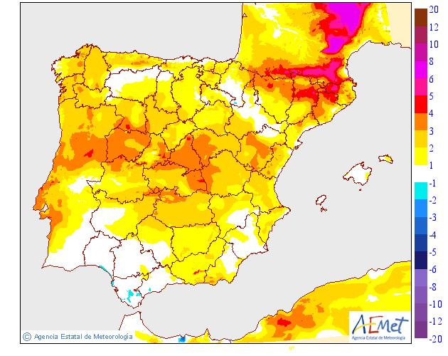 Variación de temperaturas máximas 30 AEMET. Meteosojuela