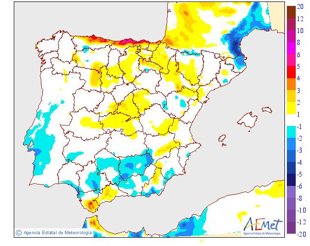 Variación de temperaturas máximas 31 AEMET. Meteosojuela