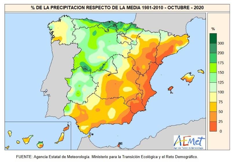 Anomalía Precipitación Octubre 2020. aemet. Meteosojuela