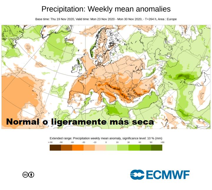 Anomalía de Precipitación ECMWF. Meteosojuela