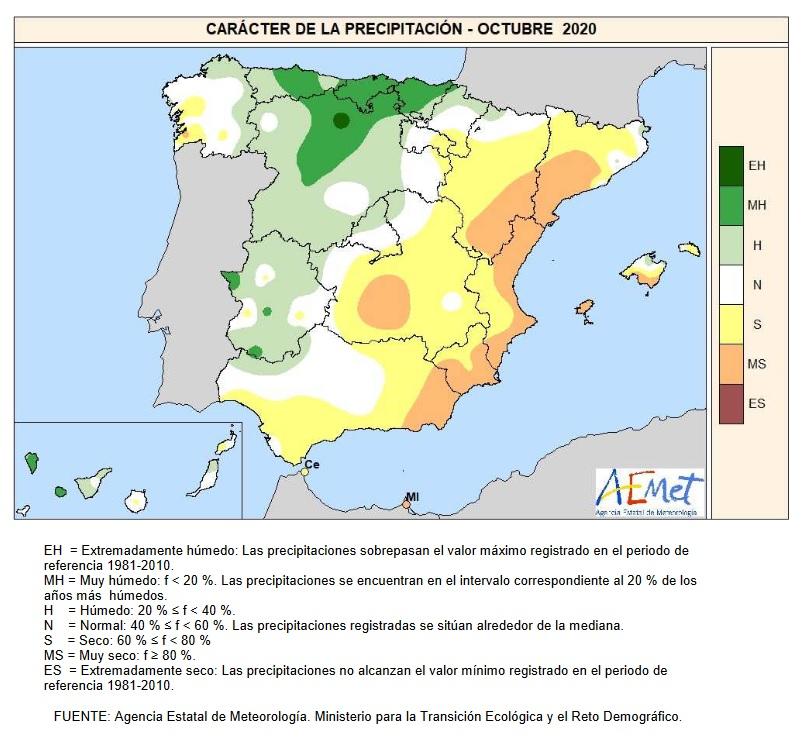 Caracter de la Precipitación Octubre 2020