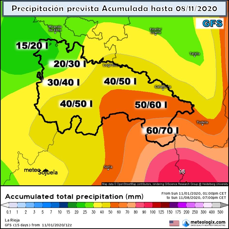 Precipitación acumulada GFS . Meteosojuela